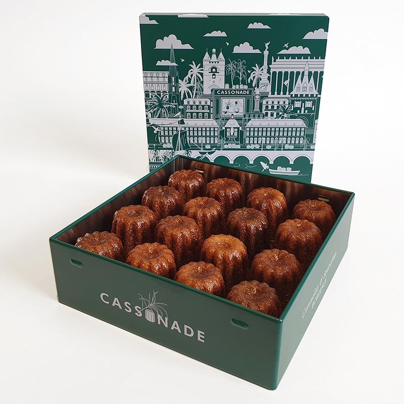 Coffret vert 16 cannelés moyens classique Cassonade Bordeaux