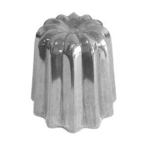 Moule à cannelé en aluminium poli, cassonade bordeaux